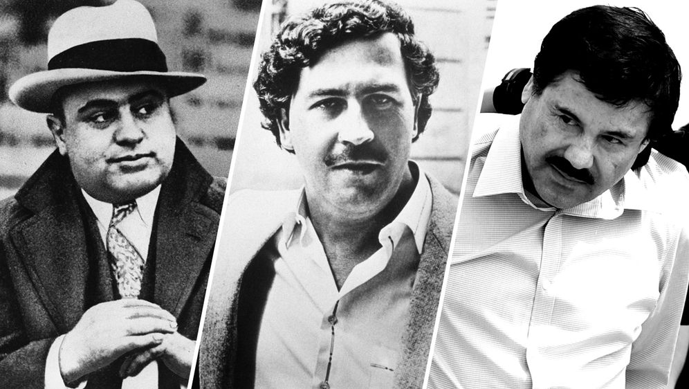 v.l.n.r. Al Capone, Pablo Escobar, El Chapo - Bildquelle: Al Capone:  © picture alliance/AP Photo | Uncredited , Pablo Escobar: © picture alliance / abaca | Vandeville Eric/ABACA , El Chapo: © picture alliance/AP Photo | Eduardo Verdugo